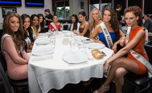 Miss USA 2011 Alyssa Campanella at a table before dinner at Martoranos with some of the 2012 Miss USA contestants