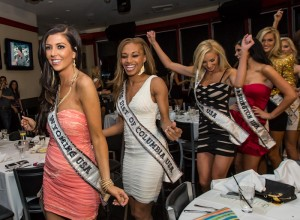The 2012 Miss USA contestants break out with a dance party in the middle of dinner to Martoranos DJ skills.